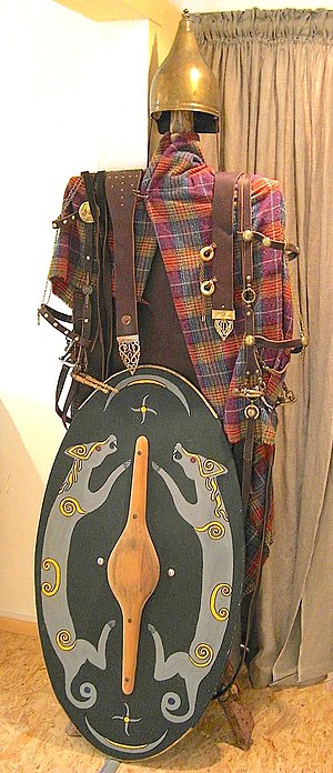 English: Celtic warrior`s garments, replicas. ...