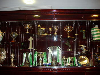 Photo Of Trophy Case Within The Celtic Park Room Several Trophies Draped