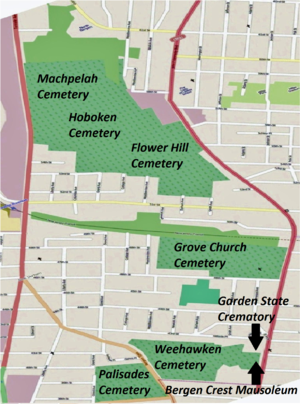Flower Hill Cemetery (North Bergen, New Jersey) - Cemeteries on the western slope of the Palisades in northern Hudson County
