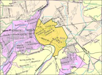 Phillipsburg, New Jersey - Image: Census Bureau map of Philipsburg, New Jersey