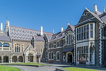 The North Quad at the Arts Centre te Matatiki Toi Ora featuring the Great Hall, Classics and Clock Tower buildings.