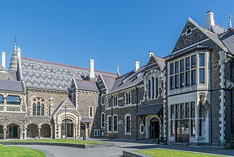 Christchurch Arts Centre - The North Quad at the Arts Centre te Matatiki Toi Ora featuring the Great Hall, Classics and Clock Tower buildings.
