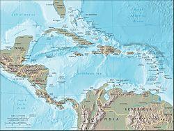 Χάρτης της Κεντρικής Αμερικής και της Καραϊβικής
