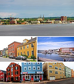From top to bottom, left to right: Charlottetown skyline from Fort Amherst, Water Street in Downtown Charlottetown, Charlottetown Harbour, Queen's Square
