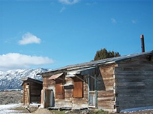 Cherry Creek, Nevada - A building in Cherry Creek that belongs to the Rude Family from California.  This old cabin built out of railroad ties was the assay office during the mining operations and is now used as a hunting cabin