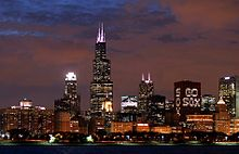 Chicago skyline during the World Series supporting the White Sox
