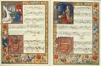 Johannes Ockeghem - An illuminated opening from the Chigi codex featuring the Kyrie of Ockeghem's Missa Ecce ancilla Domini