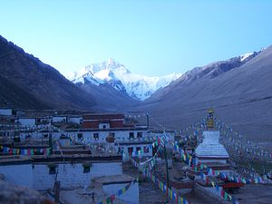 Rongbuk Monastery - Rongbuk Monastery with Mount Everest in the background