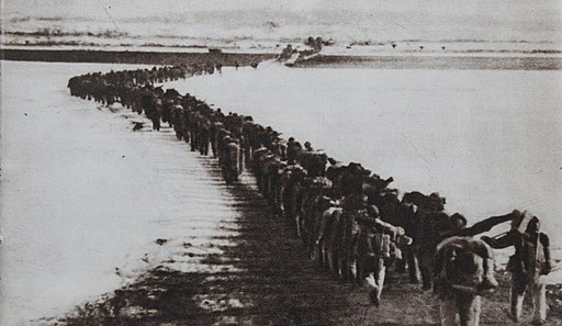 Chinese troops crossing Amrokgang river