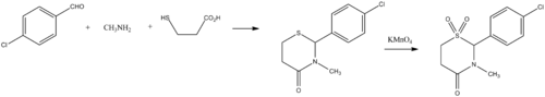 Chlormezanone synthesis.png