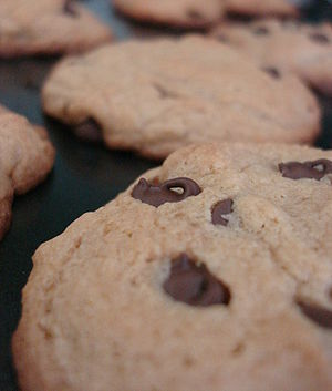 Closeup of a chocolate chip in a freshly baked...