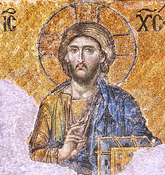 Byzantine art - One of the most famous of the surviving Byzantine mosaics of the Hagia Sophia in Constantinople – the image of Christ Pantocrator on the walls of the upper southern gallery. Christ is flanked by the Virgin Mary and John the Baptist. The mosaics were made in the 12th century.