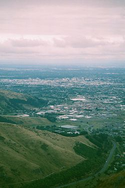 Christchurch from the Port Hills; Woolston is the northern part of the industrial area in between