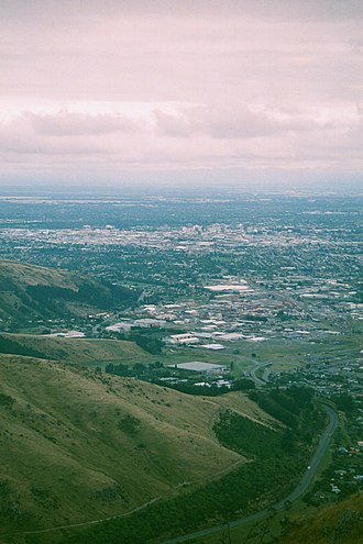Woolston, New Zealand - Christchurch from the Port Hills; Woolston is the northern part of the industrial area in between