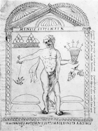 September (Roman month) - Drawing based on the illustration of September in the 4th-century Calendar of Filocalus