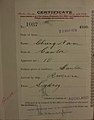 Chung Nam Auckland Chinese poll tax certificate butts Certificate issued at Auckland.jpg