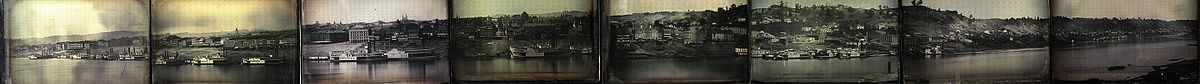 Panorama of 2 miles of the riverfront of Cincinnati, Ohio, consisting of 8 full plate daguerreotypes. It is the largest daguerreotype scene of its age, and the oldest surviving example of a North American cityscape.