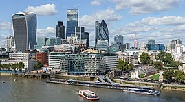 The City of London, seen from the south bank of the Thames in September 2015