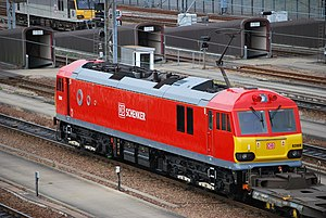 British Rail Class 92 - Repainted 92009 in DB Schenker red livery at Dollands Moor, during trials over High Speed 1.
