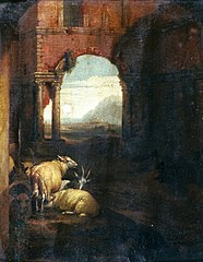 Classical landscape with sheep and goat