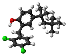 Ball-and-stick model of the clofoctol molecule
