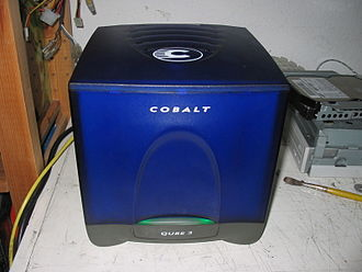 Server (computing) - Sun's Cobalt Qube 3; a computer server appliance (2002); running Cobalt Linux (a customized version of Red Hat Linux, using the 2.2 Linux kernel), complete with the Apache web server.