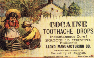 "American advertisement from 1885 offering ""instantaneous cure"" for toothache with ""Cocaine toothache drops"". Cocaine was the first local anesthetic, but its addictive and other dangerous side effects eventually led to its use being virtually abandoned by modern health care. Cocaine for kids.png"