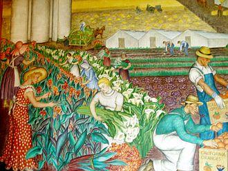 Maxine Albro - California (42-foot mural, left half), Maxine Albro, 1934, Coit Tower, San Francisco