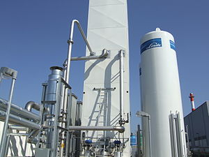 Industrial gas - Distillation column in a cryogenic air separation plant