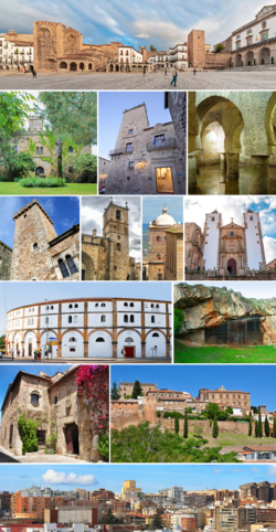 From upper to below: La Paz Hermitage, Torre de Bujaco and Cáceres City Hall in Mayor Square, Las Seguras Castle, Parador, Aljibe of the Palacio de las Veletas, Casa de los Cáceres Ovando, Santa Maria Cathedral, Moctezuma Palace, San Francisco Javier Church, Cáceres Bullring, Maltravieso Cave, Hospital of the Knights in the Monumental City, Cáceres Walls and Reyes Huertas Neighbourhood.