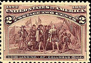 Uniform Monday Holiday Act - U.S. stamp commemorating the quadricentennial of the landing of Christopher Columbus.