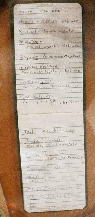 Code talker - Hugh F. Foster Jr.'s Comanche codebook