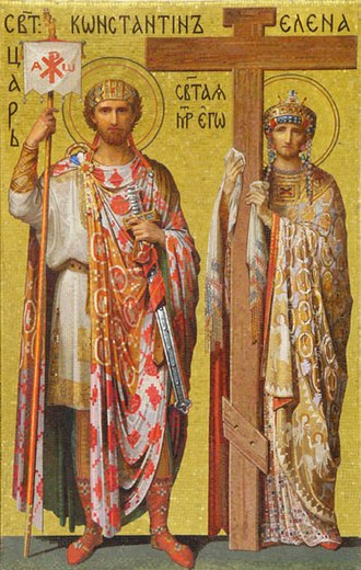 Flavia (gens) - Constantine and Helena. Mosaic in Saint Isaac's Cathedral, Peterburg, Russia