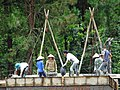Construction Workers on Roof - Near Bac Ha - Lao Cai Province - Vietnam (48203385447).jpg