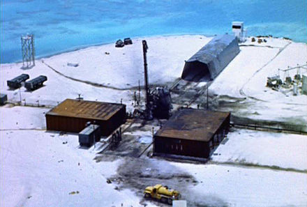 "Johnston Island Launch Emplacement One (LE1) after a Thor missile launch failure and explosion contaminated the island with Plutonium during the Operation ""Bluegill Prime"" nuclear test, July, 1962 Contaminated Johnston Island Launch Emplacement 1, Bluegill Prime, Thor failure, July 25, 1962..jpg"