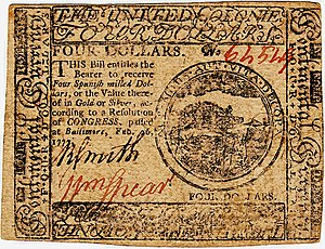Continental Currency $4 banknote obverse (February 26, 1777).jpg