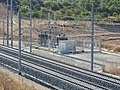 Contournement Nimes-Montpellier track with substation by A9 6074.JPG