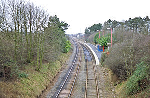 Corby railway station - The briefly used 1987 station, seen here in 1990 shortly before closure.