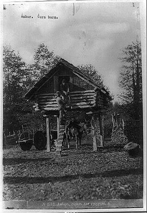 Corn crib - 19th-century corn crib in Russia