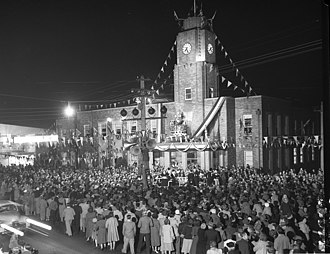 City of Rockdale - The second Rockdale Town Hall (1940), built on the site of the first Town Hall, on 2 June 1953 during celebrations for the Coronation of Queen Elizabeth II.