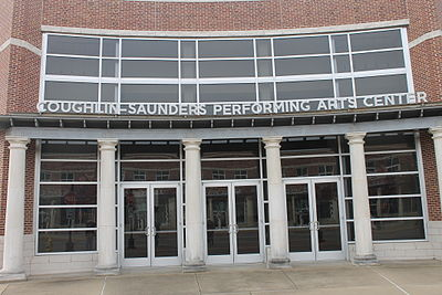 The 615-seat Coughlin-Saunders Performing Arts Center is located on Third Street across from the Alexandria Daily Town Talk building Coughlin-Saunders Performing Arts Center (revised) in Alexandria, LA IMG 4277.JPG