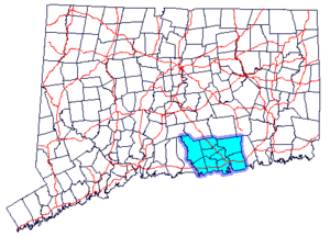 Lower Connecticut River Valley - Map of Connecticut highlighting the Connecticut River Estuary region.