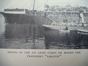 1st Army Corps (AFSR) - Troops of the 1st Army corps embarking aboard the transport Saratov during the evacuation of Crimea, November 1920