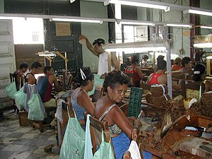 English: People at work in a cigar factory in ...