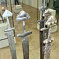 Cultural History (historisk) Museum Oslo. VIKINGR Norwegian Viking-Age Exhibition 11 Elaborate swords, decorated hilts, ornated blades, home-forged and foreign-made, ca 800-1000. Found in Telemark, Nordland, Hedmark. 4731.jpg