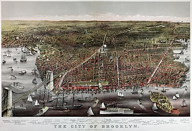 Currier and Ives print of Brooklyn, 1886. Currier & Ives Brooklyn2.jpg