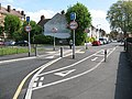 Cycle contraflow, St Mark's Road, Mitcham - geograph.org.uk - 1853132.jpg