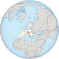 Czech Republic in the European Union on the globe (Europe centered).svg