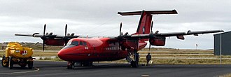 British Antarctic Survey - The BAS Dash-7 at Port Stanley Airport on the Falkland Islands.