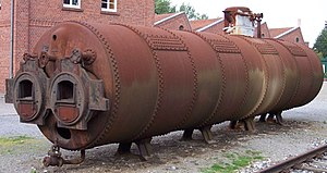 Boiler (power generation) - An industrial boiler, originally used for supplying steam to a stationary steam engine